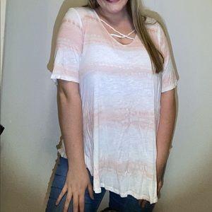 Horizontal tie-dye peach and white shirt